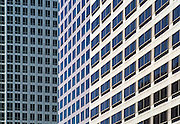 Compressed view of office building windows in Central Business District, Los Angeles, California