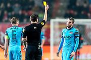 ENSCHEDE - 17-12-2016, FC Twente - AZ, Grolsch Velst Stadion, scheidsrechter Jochem Kamphuis geeft de gele kaart aan AZ speler Thomas Ouwejan