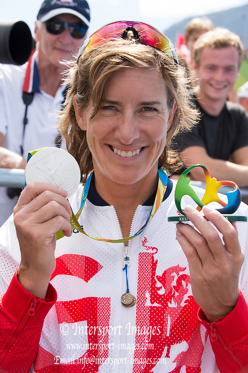 Rio de Janeiro. BRAZIL.  Silver Medalist GBR W2X. Katherine GRAINGER . 2016 Olympic Rowing Regatta. Lagoa Stadium,<br />