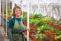 Anne with her winter salad leaf collection at West Dean