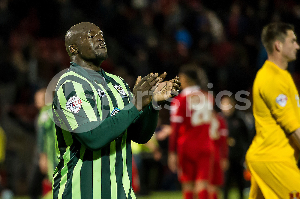 Adebayo Akinfenwa of Wimbledon thanks his fans during the Sky Bet League 2 match between Leyton Orient and AFC Wimbledon at the Matchroom Stadium, London, England on 28 November 2015. Photo by Salvio Calabrese.