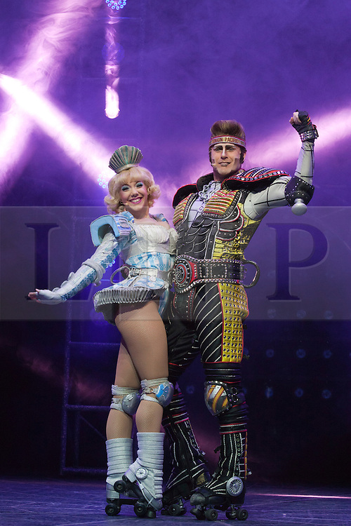 "© Licensed to London News Pictures. 11/05/2012. London, England. Ruthie Stephens as Dinah and Jamie Capewell as Greaseball. Andrew Lloyd Webber's rock musical ""Starlight Express"" opens at the New Wimbledon Theatre with a new cast before embarking on a UK tour. Choreography by Arlene Phillips. With Kristofer Harding as Rusty, Mykal Rand as Electra, Lothair Eaton as Poppa, Amanda Coutts as Pearl, Ruthie Stephens as Dinah, Kelsey Cobban as Duffy, Camilla Hardy as Buffy and Jamie Capewell as Greaseball. Photo credit: Bettina Strenske/LNP"