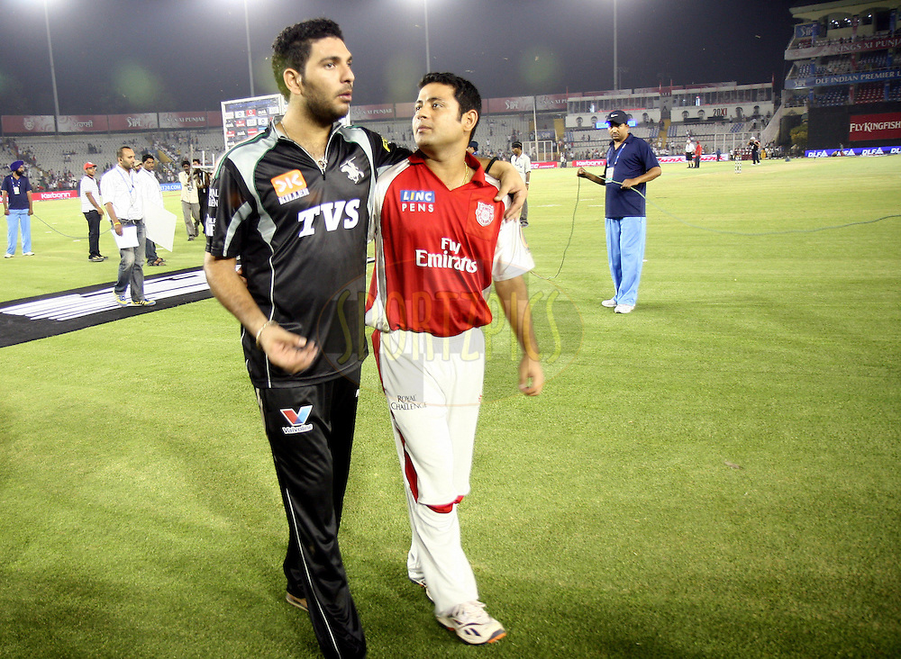Yuvraj Singh after winning the match 51 of the Indian Premier League ( IPL ) Season 4 between the Kings XI Punjab and the Pune Warriors India held at the PCA stadium in Mohali, Chandigarh, India on the 8th May 2011..Photo by Money Sharma/BCCI/SPORTZPICS.