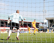 Dundee's Colin Nish  heads home the opening goal - Dundee v Motherwell, Clydesdale Bank Scottish Premier League at Dens Park.. - © David Young - 5 Foundry Place - Monifieth - DD5 4BB - Telephone 07765 252616 - email: davidyoungphoto@gmail.com - web: www.davidyoungphoto.co.uk