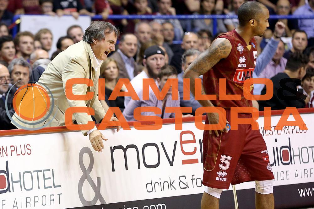 DESCRIZIONE : Venezia Lega A 2014-15 Umana Venezia Giorgio Tesi Group Pistoia<br /> GIOCATORE : Luigi Brugnaro<br /> CATEGORIA : Esultanza<br /> SQUADRA : Umana Venezia Giorgio Tesi Group Pistoia<br /> EVENTO : Campionato Lega A 2014-2015<br /> GARA : Umana Venezia Giorgio Tesi Group Pistoia<br /> DATA : 23/11/2014<br /> SPORT : Pallacanestro <br /> AUTORE : Agenzia Ciamillo-Castoria/G. Contessa<br /> Galleria : Lega Basket A 2014-2015 <br /> Fotonotizia : Venezia Lega A 2014-15 Umana Venezia Giorgio Tesi Group Pistoia