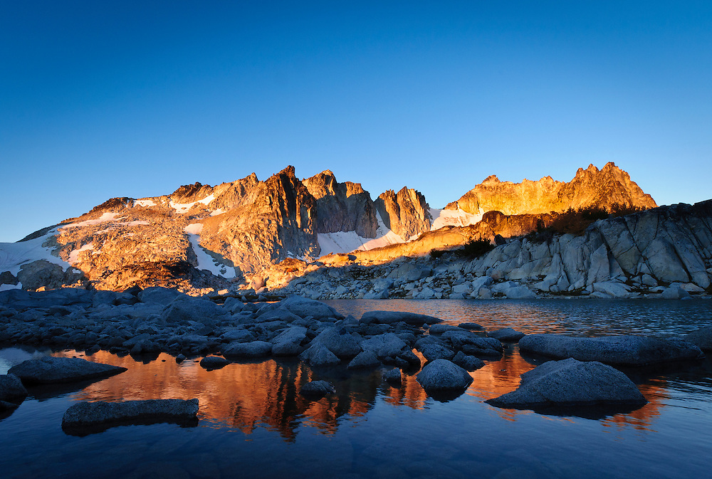Dragontail at sunrise from Tranquil Lake, The Enchantments, Alpine Lakes Wilderness, Washington.