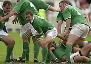 © Peter Spurrier / Intersport images.email images@intersport-images.com.29/6/03 Photo Peter Spurrier.IRB U21 Rugby World Cup - Henley - Oxon.Ireland v Italy.Conor O'Loughlin clears the ball.