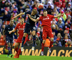 LIVERPOOL, ENGLAND - Saturday, January 30, 2016: Liverpool's Brad Smith in action against West Ham United's Nikita Jelavić during the FA Cup 4th Round match at Anfield. (Pic by David Rawcliffe/Propaganda)