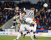 St Mirren's Lee Mair and David van Zanten can't stop Dundee's Colin Nish getting in a header - St Mirren v Dundee, Clydesdale Bank Scottish Premier League at St Mirren Park.. - © David Young - www.davidyoungphoto.co.uk - email: davidyoungphoto@gmail.com