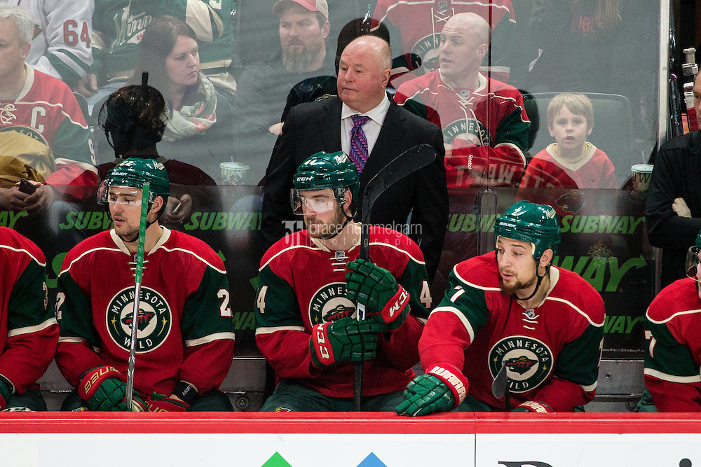 Dec 17, 2016; Saint Paul, MN, USA; Minnesota Wild head coach Bruce Boudreau looks on during the third period against the Arizona Coyotes at Xcel Energy Center. The Wild defeated the Coyotes 4-1. Mandatory Credit: Brace Hemmelgarn-USA TODAY Sports