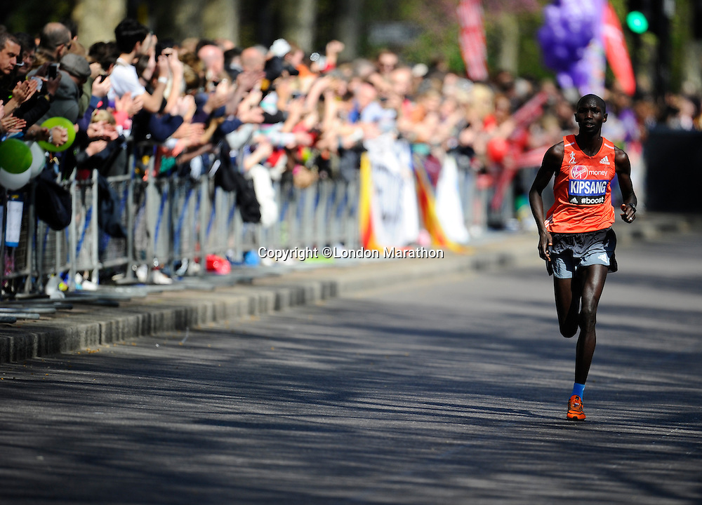Wilson Kipsang en route to his win in the Elite Men's race<br /> The Virgin Money London Marathon 2014<br /> 13 April 2014<br /> Photo: Javier Garcia/Virgin Money London Marathon<br /> media@london-marathon.co.uk