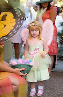 4 year old Jacklyn Francis of Holderness enjoys an enchanted evening at Cackleberries for the 5th annual Fairy Night in the Garden as she wanders through the butterfly garden Friday evening.  (Karen Bobotas/for the Laconia Daily Sun)