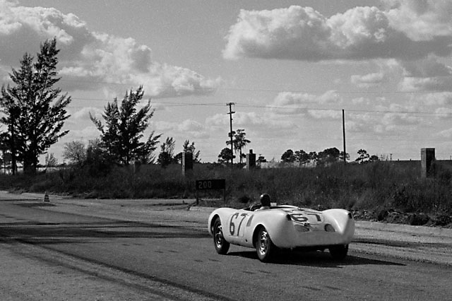 Porsche 550 no. 67 at 1955 Sebring race, please credit photo by Ozzie Lyons; Copyright Pete Lyons / petelyons.com