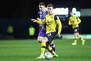 Oxford United defender Josh Ruffels (3) sprints forward with the ball during the EFL Sky Bet League 1 match between Oxford United and Shrewsbury Town at the Kassam Stadium, Oxford, England on 7 December 2019.
