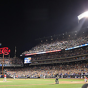 Lucas Duda, New York Mets, rounds the bases after hitting his second solo home run of the night in the 7th inning during the New York Mets Vs Washington Nationals. MLB regular season baseball game at Citi Field, Queens, New York. USA. 1st August 2015. Photo Tim Clayton