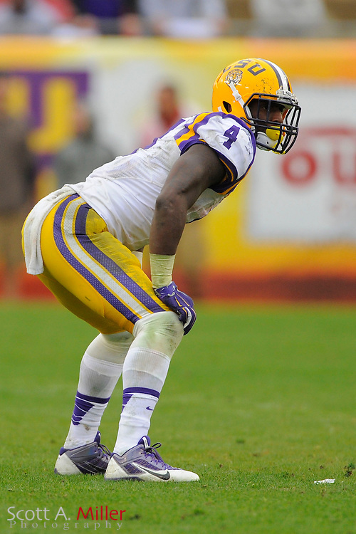LSU Tigers  running back Alfred Blue (4) during LSU's 21-14 win over the Iowa Hawkeyes in the 2014 Outback Bowl at Raymond James Stadium on Jan 1, 2014  in Tampa, Florida. ©2014 Scott A. Miller