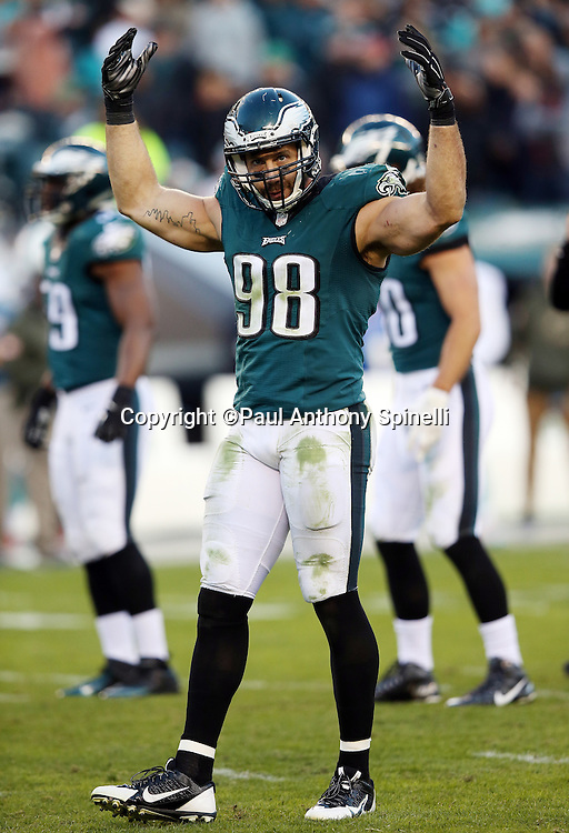 Philadelphia Eagles outside linebacker Connor Barwin (98) waves his arms as he fires up the fans during the 2015 week 10 regular season NFL football game against the Miami Dolphins on Sunday, Nov. 15, 2015 in Philadelphia. The Dolphins won the game 20-19. (©Paul Anthony Spinelli)