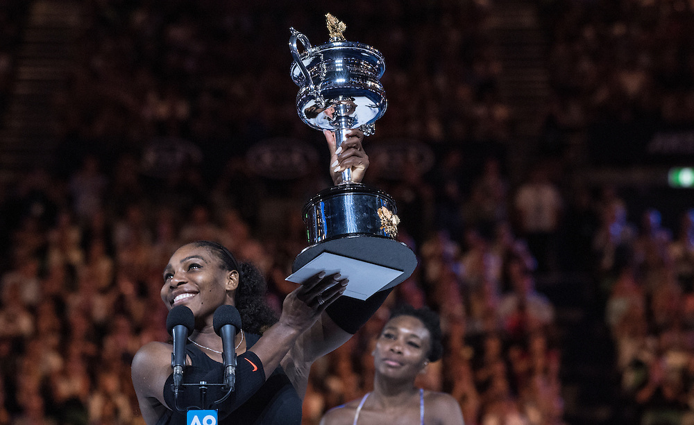 Serena Williams of the United States after winning the women's final on day thirteen of the 2017 Australian Open at Melbourne Park on January 28, 2017 in Melbourne, Australia.<br /> (Ben Solomon/Tennis Australia)