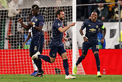 November 8, 2018 - Turin, Italy - Juan Mata (C) of Manchester United celebrates his goal with Paul Pogba (L) and Ashley Young during the Group H match of the UEFA Champions League between Juventus FC and Manchester United FC on November 7, 2018 at Juventus Stadium in Turin, Italy. (Credit Image: © Mike Kireev/NurPhoto via ZUMA Press)