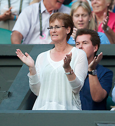 LONDON, ENGLAND - Saturday, June 26, 2010: Judith (Judy) Murray, mother of Andy Murray (GBR), celebrates her son wins the Gentlemen's Singles 3rd Round on day six of the Wimbledon Lawn Tennis Championships at the All England Lawn Tennis and Croquet Club. (Pic by David Rawcliffe/Propaganda)