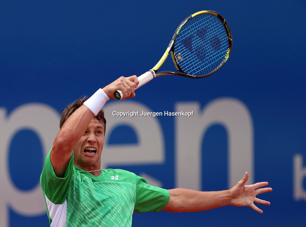 BMW Open 2014,250 ATP World Tour, Tennis Turnier, International Series,Iphitos Tennis Club, Sandplatz, Muenchen,<br /> Ricardas Berankis (LTU),Aktion,Einzelbild, Halbkoerper,Querformat,