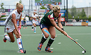 Surbiton's Georgie Twigg under pressure from Felice Albers during the bronze medal match at the EHCC 2017 at Den Bosch HC, The Netherlands, 5th June 2017