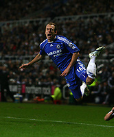 Photo: Andrew Unwin.<br /> Newcastle United v Chelsea. Carling Cup. 20/12/2006.<br /> Chelsea's Arjen Robben wins a free-kick, from which Chelsea score their goal.
