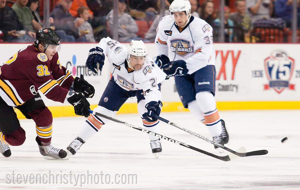 November 12, 2010: The Oklahoma City Barons play the Chicago Wolves in an American Hockey League game at the Cox Convention Center in Oklahoma City.
