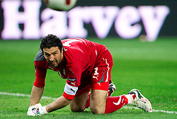 Goalkeeper of Italy Gianluigi Buffon during EURO 2012 Quaifications game between National teams of Slovenia and Italy, on March 25, 2011, SRC Stozice, Ljubljana, Slovenia. Italy defeated Slovenia 1-0.  (Photo by Vid Ponikvar / Sportida)