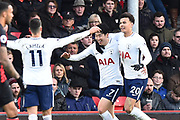 Goal - Heung-Min Son (7) of Tottenham Hotspur celebrates scoring a goal to make the score 1-2 during the Premier League match between Bournemouth and Tottenham Hotspur at the Vitality Stadium, Bournemouth, England on 11 March 2018. Picture by Graham Hunt.