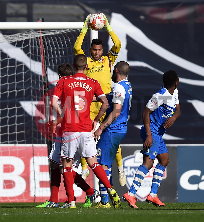 Swindon Town captain Wes Foderingham rises to save a Peterborough ball - Photo mandatory by-line: Paul Knight/JMP - Mobile: 07966 386802 - 11/04/2015 - SPORT - Football - Swindon - The County Ground - Swindon Town v Peterborough United - Sky Bet League One