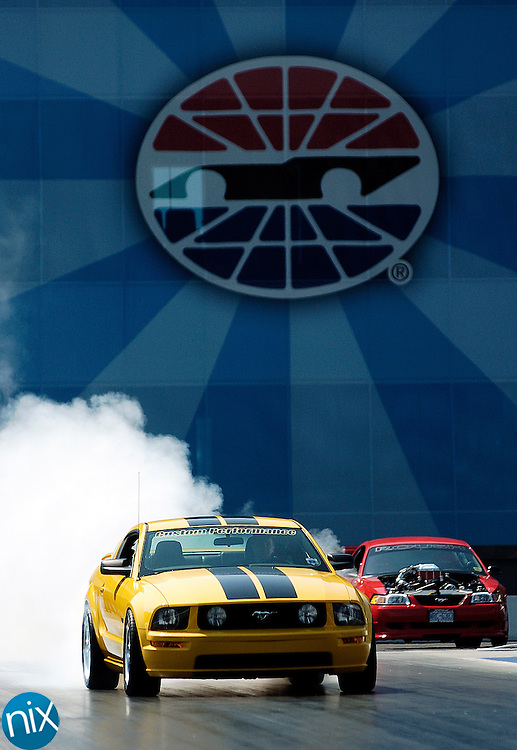 Dale Sciranko demonstrate a street drag race at the zMax Dragway Tuesday afternoon. The dragway will open it's lanes for legal street drag racing later this week.