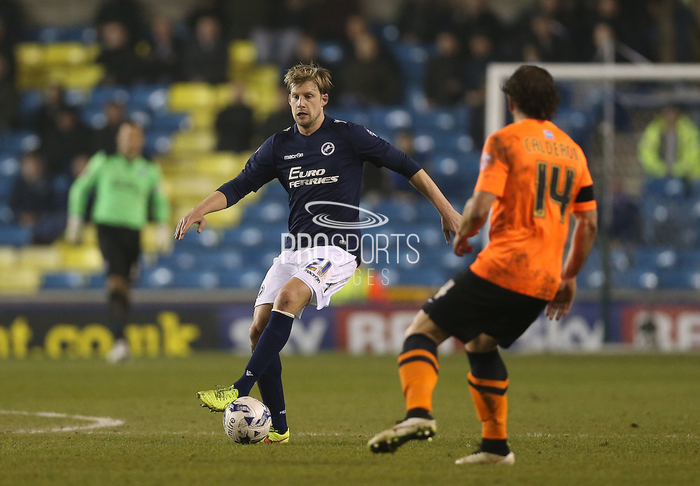 Defender Dan Harding during the Sky Bet Championship match between Millwall and Brighton and Hove Albion at The Den, London, England on 17 March 2015.