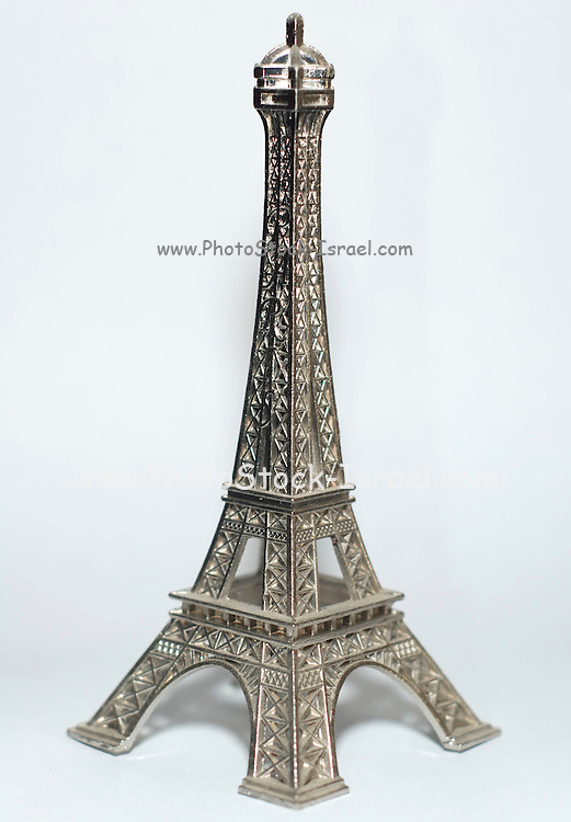 Eiffel tower figure on white background