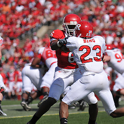 Apr 18, 2009; Piscataway, NJ, USA; Rutgers WR Mohamed Sanu (6) blocks DB Brandon Bing (23) during the second half of Rutgers' Scarlet and White spring football scrimmage.