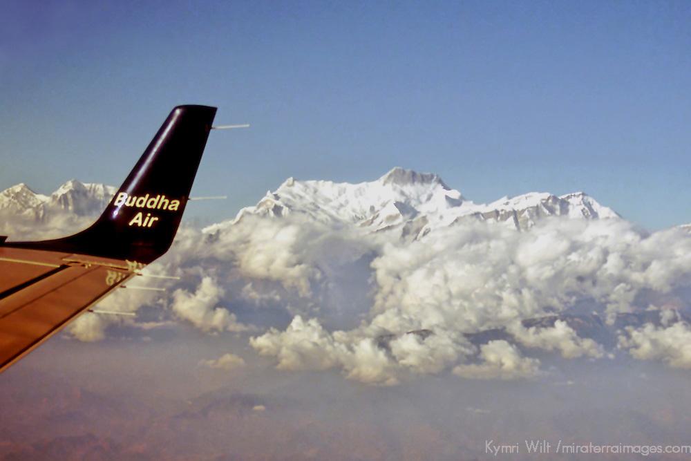 Asia, Nepal, Himalayas. Flying past Mount Everest.
