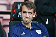 Leicester City Defender, Christian Fuchs (28) during the Premier League match between Bournemouth and Leicester City at the Vitality Stadium, Bournemouth, England on 15 September 2018.