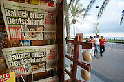 "The infamous ""Ballermann"", the German section of Platja de s'Arenal. Bildzeitung celebrating Germany's narrow victory over Austria at Euro 2008 soccer championship."