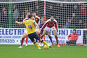 Scunthorpe United midfielder Sean McAllister has a shot at goal during the Sky Bet League 1 match between Swindon Town and Scunthorpe United at the County Ground, Swindon, England on 14 November 2015. Photo by Mark Davies.