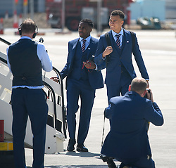 © Licensed to London News Pictures. 06/06/2016. Luton, UK. DELE ALLI and DANNY ROSE join other members of England national football squad as they board a plane at Luton airport in Bedfordshire, England, to head for their training camp in France, ahead of the start of the UEFA Euro 2016 championships.  Photo credit: Ben Cawthra/LNP