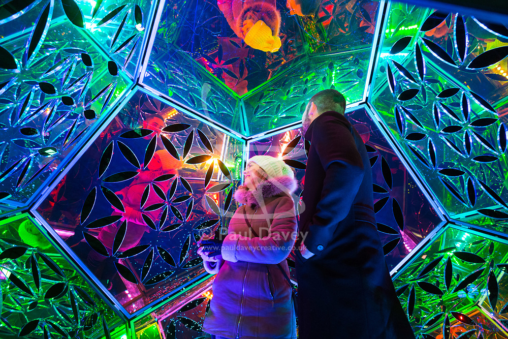 Canary Wharf, London, January 16 2018. XXX at the Winter Lights festival at Canary Wharf in London which features over 30 spectacular light installations at interactive art. © Paul Davey