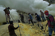 BONDOWOSO, EAST JAVA - DECEMBER 17: Sulfur miners extract sulfur during annual sacrificial ritual at Ijen crater in Bondowoso, East Java, Indonesia, December 17, 2013. The miners held the sacrifice in order to ask blessing of good result and prevent from accident or injury. The tradition begun in 1978 after a tragedy that killed four people and fourteen black out cause of poisoning gas. Daily miners produce fifteen ton of sulfur or approximately 450 ton a month. Come close to 150 miners work everyday. All the sulfur goes to sugar factory ans used as sugar whitening.