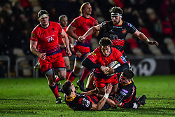 Dean Hammond of Worcester Warriors is tackled by Zane Kirchner of Dragons - Mandatory by-line: Craig Thomas/JMP - 02/02/2018 - RUGBY - Rodney Parade - Newport, Gwent, Wales - Dragons v Worcester Warriors - Anglo Welsh Cup