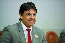 VUKOVAR, CROATIA - Monday, October 15, 2012: Wales' manager Chris Coleman during a press conference at the Hotel Lav ahead of the Brazil 2014 FIFA World Cup Qualifying Group A match against Croatia. (Pic by David Rawcliffe/Propaganda)