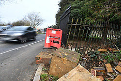 © Licensed to London News Pictures. 27/01/2018. London, UK. Damage to a wall, fence and lamp post at the scene where three teenage pedestrians were killed near a bus stop in Hayes, West London after a black Audi car is believed to have collided with them. Police were called to the incident, on Friday night at 20:41hrs, close to the M4 Junction 4 following reports of a serious road traffic collision. The victims died at the scene - are all believed to be teenage males, aged approximately 16. Photo credit: Ben Cawthra/LNP