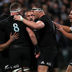 The All Blacks celebrate Lima Sopoaga's try during the Rugby Championship match between the New Zealand All Blacks and South Africa Springboks at QBE Stadium in Albany, Auckland, New Zealand on Saturday, 16 September 2017. Photo: Shane Wenzlick / lintottphoto.co.nz