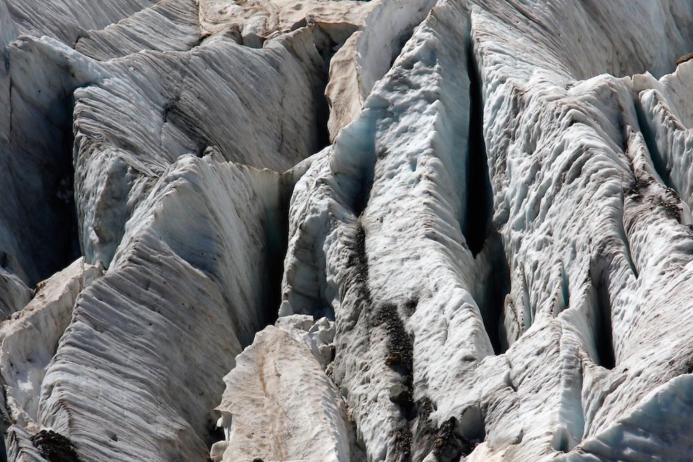Russia, Caucasus, Teberdinsky biosphere reserve. A close up of Alibek glacier in Alibek valley near Dombay.