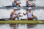 Sarasota. Florida USA. USA LM2X, Bow Chris Rodgers and Peter SCHMIDT.  Fist Bump, befor the start of their heat,  at the 2017 FISA World Rowing Championships, Nathan Benderson Park<br /> <br /> Sunday  24.09.17   <br /> <br /> [Mandatory Credit. Peter SPURRIER/Intersport Images].<br /> <br /> <br /> NIKON CORPORATION -  NIKON D4S  lens  VR 500mm f/4G IF-ED mm. 200 ISO 1/2500/sec. f 4
