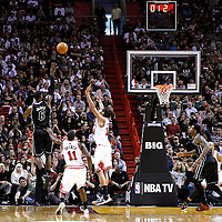 29 January 2012: Miami Heat small forward LeBron James (6) takes a jumpshot over Chicago Bulls center Joakim Noah (13) during the Miami Heat 97-93 victory over the Chicago Bulls at the AmericanAirlines Arena, Miami, Florida, USA.