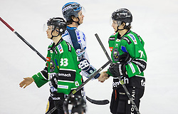 25.01.2015, Hala Tivoli, Ljubljana, SLO, EBEL, HDD Telemach Olimpija Ljubljana vs EHC Liwest Linz, 43. Runde, in picture Jure Sotlar (HDD Telemach Olimpija, #33), Rob Hisey (EHC Liwest Linz, #26) and Jaka Zdesar (HDD Telemach Olimpija, #71) during the Erste Bank Icehockey League 43. Round between HDD Telemach Olimpija Ljubljana and EHC Liwest Linz at the Hala Tivoli, Ljubljana, Slovenia on 2015/01/25. Photo by Vid Ponikvar / Sportida